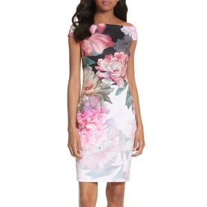 TED BAKER Painted Posie Off the Shoulder Dress 0